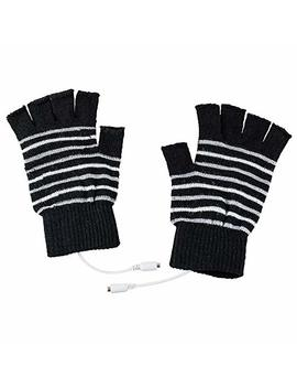 Saftybay Removable Washable Usb Rechargeable Heated Gloves,Half Leaky Finger Winter Warm Hand Heating Gloves Warmer For Women Men Girls Students Arthritis by Saftybay