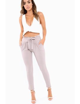 Grey Paper Bag Tie Waist Cigarette Trousers   Karmen by Rebellious Fashion