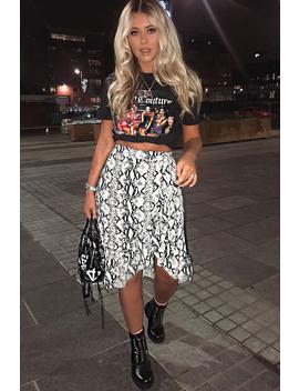 Beige Navy Snake Print Ruffle Midi Skirt   Dominique by Rebellious Fashion