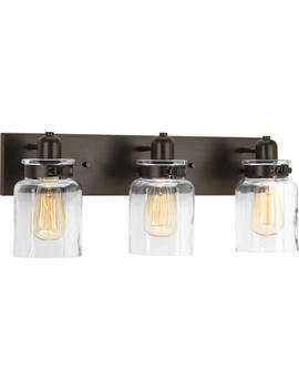 Calhoun Collection 21.63 In. 3 Light Antique Bronze Bathroom Vanity Light With Glass Shades by Progress Lighting