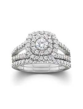 Pompeii3 1 1/10ct Cushion Halo Solitaire Diamond Engagement Wedding Ring Set White Gold by Pompeii3