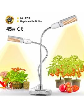 Led Plant Grow Light For Indoor Plants  45 W Full Spectrum Sunlike Replacement Plant Light With Double Switch   360 Degree Dual Head Flexible Gooseneck Grow Lamps by Bozily