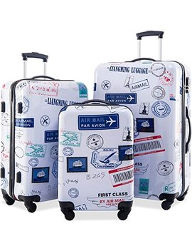 Flieks Graphic Print Luggage Set 3 Piece Abs + Pc Spinner Travel Suitcase (By Air Mail) by Merax