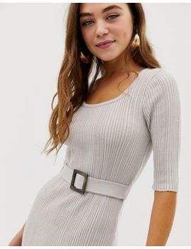 Asos Design Square Neck Midi Dress With Self Belt by Asos Design