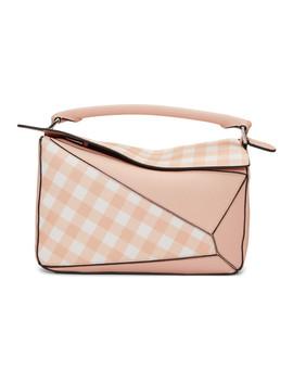 Pink Gingham Puzzle Bag by Loewe