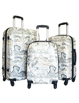 3pc Luggage Set Hardside Rolling 4wheel Spinner Upright Carryon Travel Poly Globe by Trendy Flyer