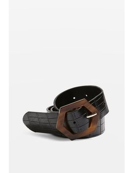 Tortoiseshell Hex Buckle Belt by Topshop