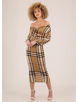 Tie Game Off Shoulder Plaid Dress by Go Jane