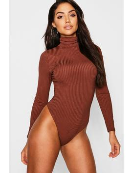 Jumbo Rib Roll Neck High Rise Bodysuit by Boohoo