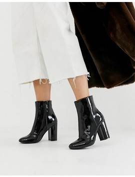 New Look Patent Heeled Boot In Black by New Look