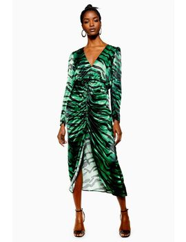 Green Zebra Ruched Dress by Topshop