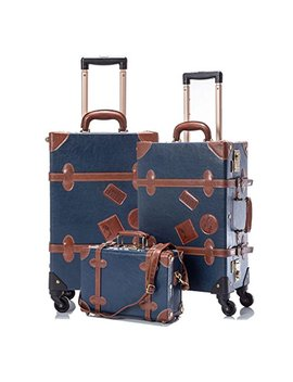 "Cotrunkage 3 Piece Vintage Luggage Set Tsa Lock Retro Trunk (12"" 20"" 26"", Blue) by Cotrunkage"