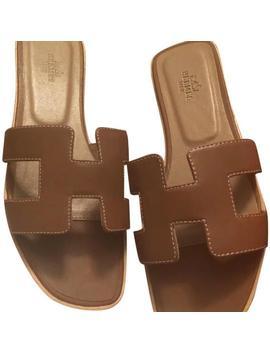 Brown Light Oran Slippers Sandals by Hermès