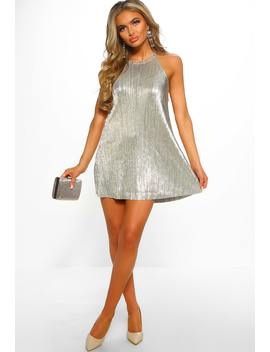 Hollywood Shimmer Gold Metallic Plisse Swing Dress by Pink Boutique