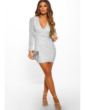 Earned My Divaship Silver Sequin Long Sleeve Mini Dress by Pink Boutique