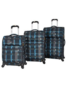 Lucas Luggage Ultra Lightweight 3 Piece Expandable Suitcase Set With Spinner Wheels (One Size, Old School Navy) by Lucas