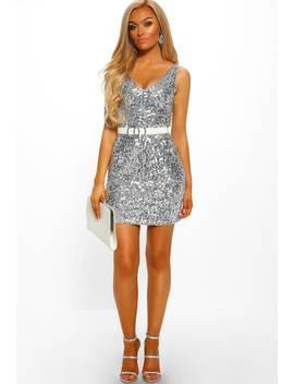 Dream & Gleam Silver Sequin Mini Dress by Pink Boutique