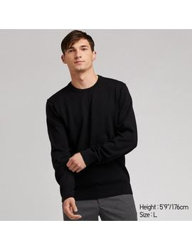 Men Supima Cotton Crew Neck Long Sleeve Sweater by Uniqlo