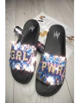 Frankie Multi Grl Pwr Sequin Sliders by Misspap