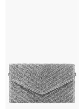 Glitter Quilted Clutch And Chain by Boohoo