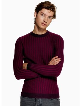 Purple Plaited Ribbed Jumper by Topman