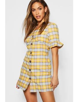 Check Horn Button Shift Dress by Boohoo