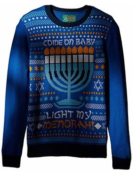 Ugly Christmas Sweater Mens Light Up   Light My Menorah Sweater by Amazon