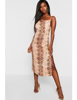 Snake Print Strappy Cowl Front Midi Slip Dress by Boohoo