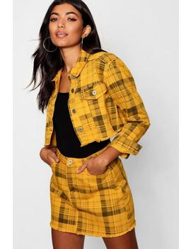 Yellow Check Cropped Denim Jacket Yellow Check Cropped Denim Jacket by Boohoo
