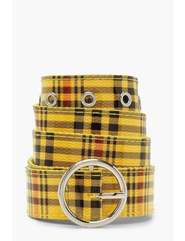 Circle Buckle Check Belt Circle Buckle Check Belt by Boohoo