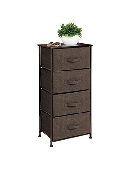 M Design Vertical Dresser Storage Tower   Sturdy Steel Frame, Wood Top, Easy Pull Fabric Bins   Organizer Unit For Bedroom, Hallway, Entryway, Closets   Textured Print   4 Drawers   Espresso Brown by M Design