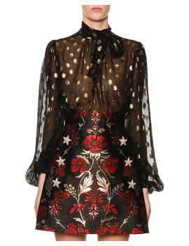 Long Sleeve Tie Neck Dotted Fil Coupe Chiffon Blouse by Dolce & Gabbana