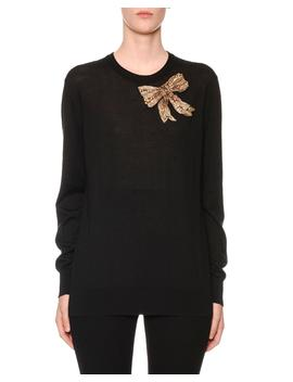 Embellished Bow Crewneck Cashmere Knit Sweater by Dolce & Gabbana