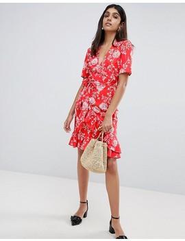 Parisian Tall Floral Print Wrap Midi Dress by Asos