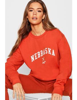 Nebraska Slogan Sweat by Boohoo