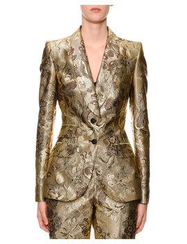 Two Button Shawl Collar Metallic Floral Jacquard Jacket by Dolce & Gabbana