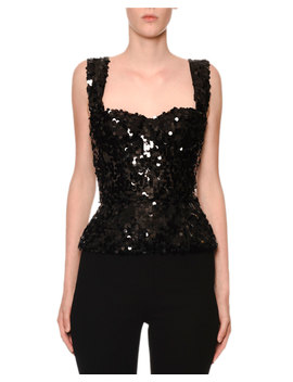 Sleeveless Allover Paillette Bustier Top by Dolce & Gabbana