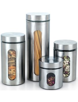 Cook N Home Glass Canister With Stainless Window Set, 4 Piece by Cook N Home