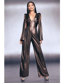 Premium Foiled Satin Cape Sleeve Wide Leg Jumpsuit by Boohoo