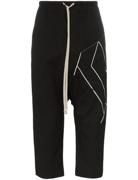Embroidered Cropped Cotton Blend Trousers by Rick Owens