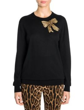 Embellished Bow Cashmere Sweater by Dolce & Gabbana