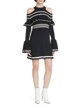 Stripe Ruffle Trim Knit Minidress by Self Portrait