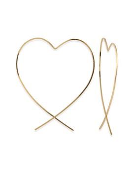 Heart Hoop Threader Earrings by Taolei