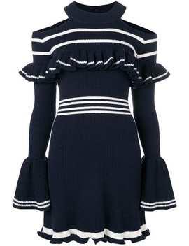 Cold Shoulder Ribbed Knit Dress by Self Portrait