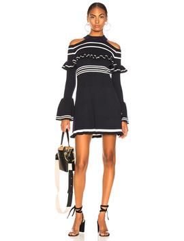 Striped Frill Knit Dress by Self Portrait
