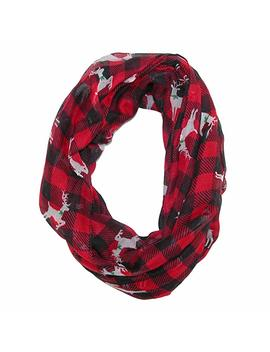 David & Young Women's Buffalo Plaid Holiday Infinity Loop Scarf With Reindeer by David & Young