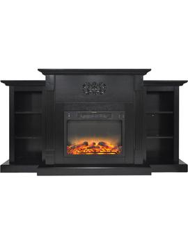 Classic 72 In. Electric Fireplace In Black Coffee With Built In Bookshelves And An Enhanced Log Display by Hanover