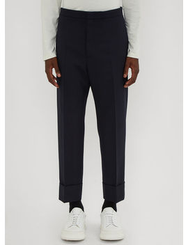 Tailored Turn Up Pants In Navy by Jil Sander