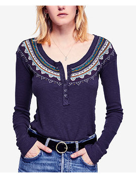 Fair Isle Embroidered Thermal Henley by Free People