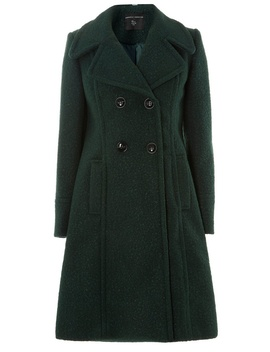 Green Boucle Midi Coat by Dorothy Perkins